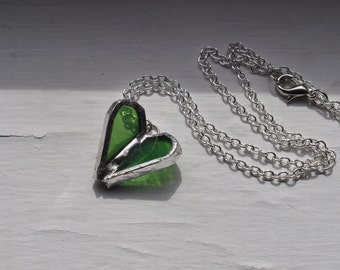 Flying Heart Necklace in green stained glass