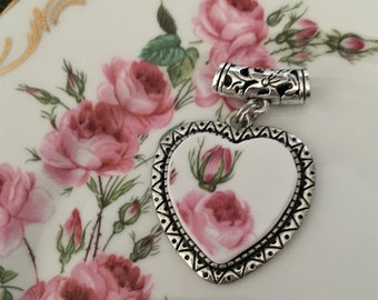 Stunning Heart Shaped Bridesmaid Broken China Pendant