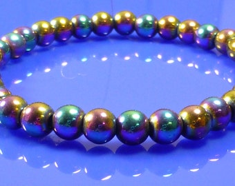 Magnetic Rainbow Hematite Healing ARTHRITIS PAIN Bracelet 6mm Elastic