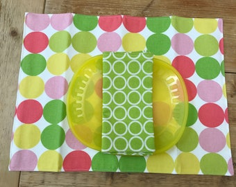 Placemat and Napkin Set for Kids  -   Big Dots and Circles