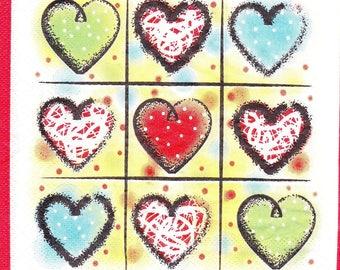 323 hearts in colors 1 33 X 33 X 4 design paper napkin