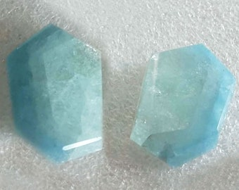 A pair of cuts of an aquamarine crystal