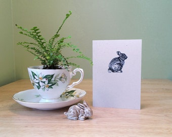 Bunny note card. Eco friendly recycled notecard with bunny drawing, and rabbit natural history facts on back. Blank inside.