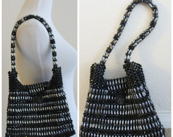 Vintage 1950's 60's Black Beaded Handbag Purse Tote Handmade