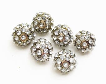 small eco friendly silver tone metal colorless rhinestone encrusted shank ball buttons--matching lot of 6