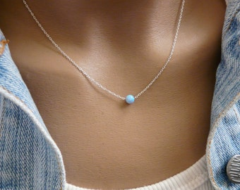 Opal Necklace, Tiny 5mm Opal Necklace, Opal Jewelry, Sterling silver Necklace, Minimalist Pendant, Delicate Necklace
