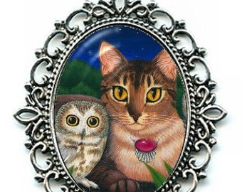 Owl Cat Necklace Saw Whet Owl Cameo Abyssinian Cat Necklace Cameo Pendant 40x30mm Fantasy Cat Art Gift for Cat Lovers Jewelry