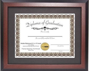 Mahogany Certificate Frame Displays 8.5x11-inch w/ Mat or 11x14-inch // Diploma Frame // Graduation Frame // University Frame