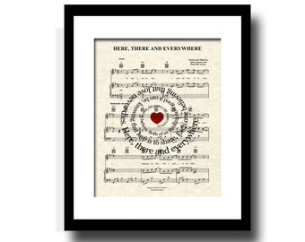 Here, There and Everywhere Song Lyric Sheet Music Art, Custom Wedding Gift, Custom Anniversary Gift, Names and Date Art, Personalized Art