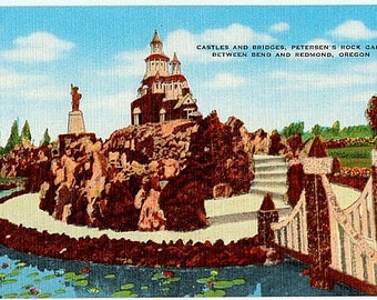 Vintage Oregon Postcard - Castles and Bridges at Petersen's Rock Garden (Unused)