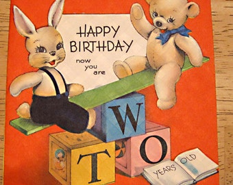 Vintage birthday card 2 year old  1940s
