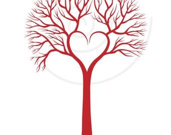 Red heart wedding tree, wedding invitation, printable card, wedding gift, digital clip art, PNG, EPS, SVG files, instant download