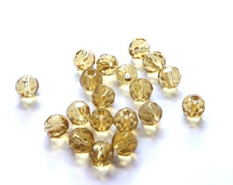 10 beads yellow amber faceted glass 6mm