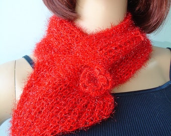 Red Scarflette with glitter and crocheted flower- ready to ship