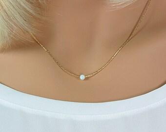 Minimal Opal Necklace, Layered Choker, Dainty Opal Necklace, Wedding Jewelry, Minimal Gold, Opal Choker, Opal, Opal Necklace, Gold Choker