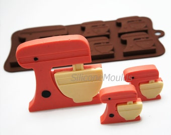 4+1 Kitchen Stand Mixer Baking Novelty Chocolate Silicone Mould Candy Lolly Cake Topper Silicon Mold - resin / craft / wax / soap