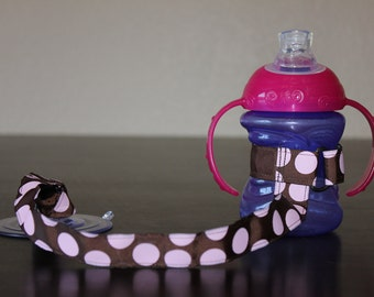 Sippy Cup Leash, Sippy Strap, Suction Sippy Strap, Sippy Cup Strap Suction Cup, Brown Pink Polka Dots