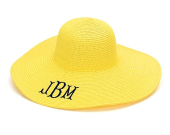 Yellow Floppy Sun Hat Monogram Floppy Hat Sun Hats For Women Sun Hat Women Monogram Beach Hat Beach Sun Hat Floppy Beach Hat Yellow Hats