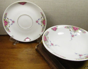 Victoria China - Berry Bowl - Dessert Bowl and Saucer - Pink Flowers and Floral Swags - Made in Czechoslovakia