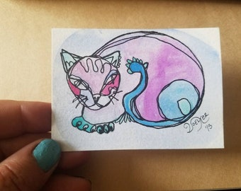 LOVELY MECHE -  original aceo watercolor