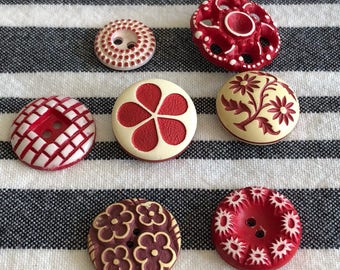 French Buttons ea 2.50 to 5.00 or Set of 30 for 80.00 French Celluloid 6 Colors Available FIVE HAVE SOLD! See description!