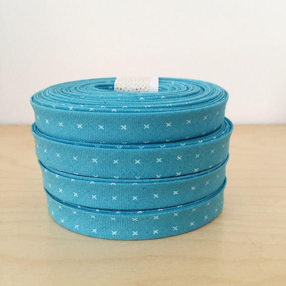 "Bias Tape in Cotton + Steel Add it Up Plus Sign Cross cotton 1/2"" double-fold binding- Bison Blue- 3 yard roll"