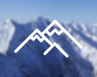 Mountains Icon Vinyl Decal | Water Bottle Decal | Car Window Decal | Laptop Decal
