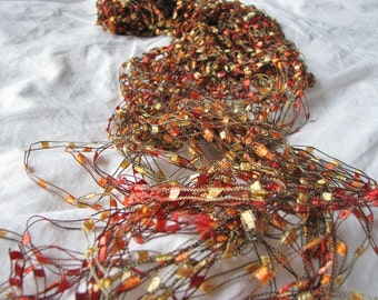 Gold, Yellow and Orange Golden Sunset Hand Knit Necklace Scarf - 3 for 2 on all Necklace Scarves