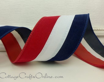 """Wired Ribbon, 2.5"""" wide, Red, White and Blue Velvet - THREE YARDS -  """"Tri-Stripe"""",  Patriotic July 4th Wire Edge Ribbon"""
