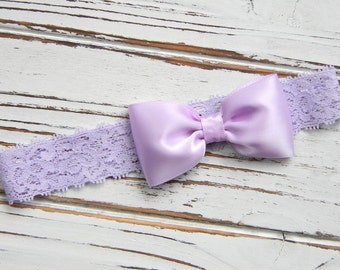 Baby Lace Headband - Lavender Bow Headband - Lavender Bow Headband - Lavender Satin Bow Headband