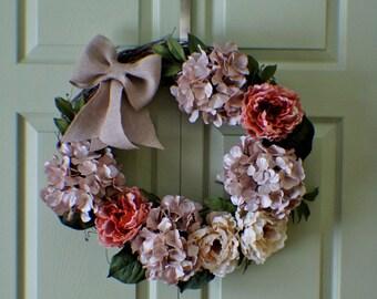 Peony and Hydrangea Wreath, Hydrangea Wreath, Front Door Wreath, New Home Door Wreath, Hydrangea Wreaths, Ready to Ship