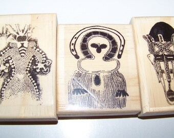3 New African Themed Rubber Art Stamps