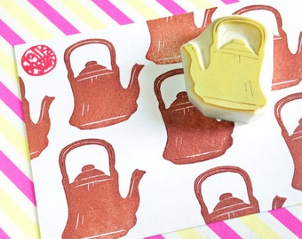 kettle rubber stamp | teakettle stamp | kitchen stamp | mid century | diy birthday card making | gift for her | hand carved by talktothesun
