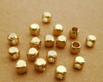 300pcs Small Eco-friendly Raw Brass Cube Faceted Beads Spacers for Layering Bracelets Necklaces or Chokers 2.5mm 0101-0413
