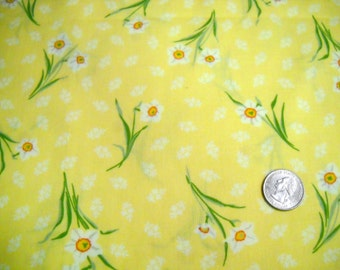 Narcissus  print cotton fabric ... Spring  Easter 2 yards