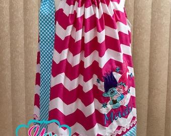 Poppy & Branch Troll inspired pillowcase dress - Custom made - Pink chevron and Turquoise polka dot prints, Troll Dress, Pillow case Dress