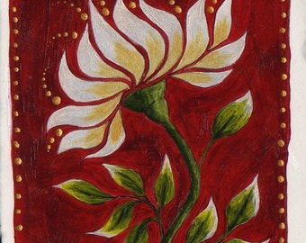 Original ACEO White Flower on Red