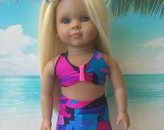 "Americas Girl Doll swim suit, halter top/swim skort, 18"" doll bathing suit, 2 piece swim suit, Beach wear like American.Girl Doll clothes"