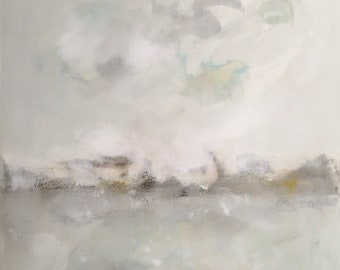 Original abstract seascape painting -Ocean Greys 22 x 28