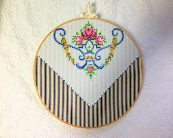 """10"""" Country Cottage Hoop, Vintage Linen, Farmhouse Chic, Wall Decor, Embroidered Linen, Lace At Midnight, Shabby Chic, Wall Art"""