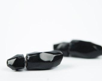 Double sided earrings, tribal earrings, mens earrings, black stud earrings, ceramic earrings, porcelain earrings, black earrings
