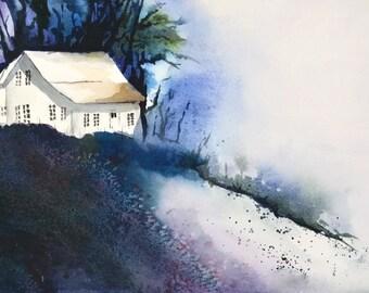 Night Painting, Moonlight Art Print, Moonlight Painting Landscape Watercolor Painting, Country House Wall Decor, Night Art,  Blue Art Purple
