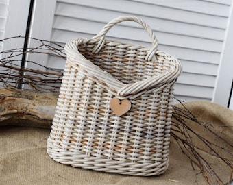 Interior basket for flowers HEART shabby chic wall decor Door basket  Wall hanging basket rustic Decor vintage hamper