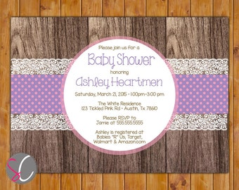 Rustic Country Baby Shower Invitation Purple Pink Polka Dots Lace Wood Like Design It's a Girl Invite 5x7 Printable JPG Invite (443)