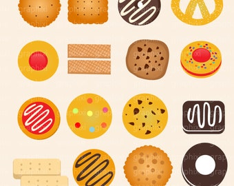 Biscuits Clipart, Biscuit vector, Biscuit Digital Image, Commercial Use, Tea Biscuit Clipart, Wafer, Shortbread, Clipart, DIGITAL CLIPART