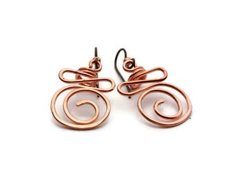 Hammered Copper Circle Swirl Coil Earrings, Hammered Copper Squiggle Earrings, Hammered Copper Circle Swirl Earrings, Niobium Ear Wires