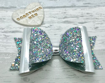Holographic bow, glitter hair bow, occasion hair bow, hair clip, sparkly hair bow, statement hair bow, girls birthday  gift
