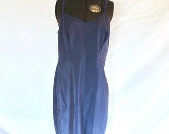 1950s Lingerie Navy Blue Full Slip SNIP IT Size 34 Nylon Dacron Rockabilly Betty Photo Movie Prop Jackpot Jen Vintage