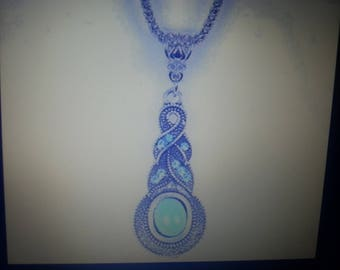 Silver  plated turquiose pendant necklace