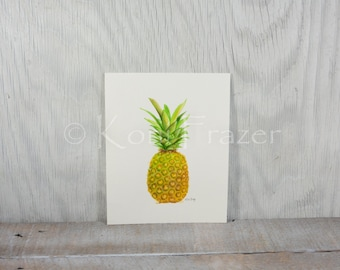 Pineapple watercolor, kitchen art, fruit painting, original watercolor painting